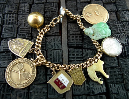 Vintage 14K Yellow Gold Charm Bracelet with Ivy League Charms