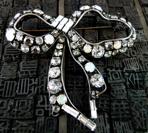 Philippe Ferrandis Swarovski Crystal Bow Brooch/Pin
