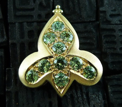 Paula Crevoshay RARE  Demantoid Garnet and  Pearl Fleur de Lis Earrings in 18K Yellow Gold