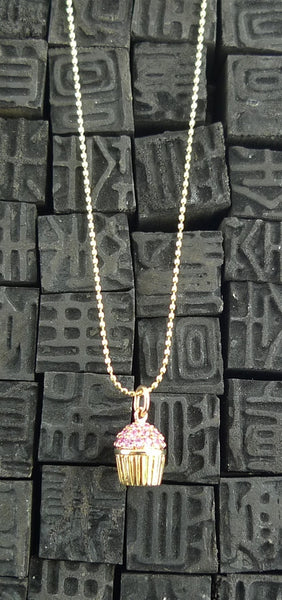 Sydney Evan 14K Yellow Gold and  Pink Sapphire Cupcake Necklace