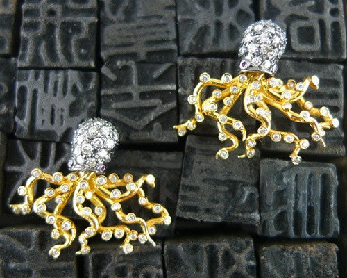 Umlaut 18k Yellow Gold with Blackened Diamond Octopus Stud Earrings