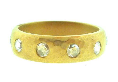 Talisman Unlimited Rosecut Diamond Hammered Band Ring in 18K Yellow Gold