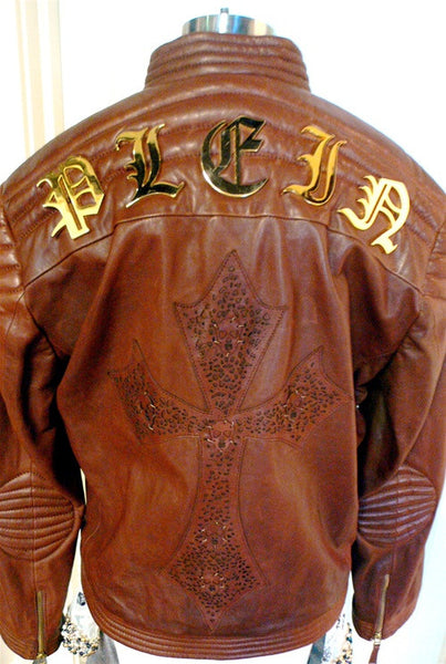 Philippe Plein Harley King Leather  Moto Jacket with Embossed Cross on Back