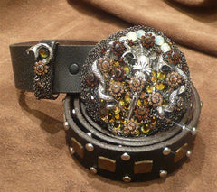 Ivy Belt with Serpent and the Sword Crystal Embellished Buckle on a Studded Strap