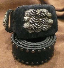 "Ivy Belt ""Dark Royalty"" Skeleton Hands Belt Buckle on Faux Pony with Studded Belt"