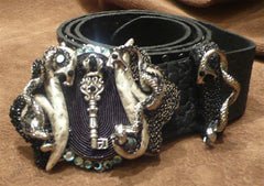 Ivy Belt with Crystal Embellished Serpent and Crown Key Buckle with Studded Belt