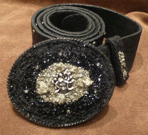 Ivy Belt with Medusa Black Crystals and Pyrite Buckle with Studded Belt