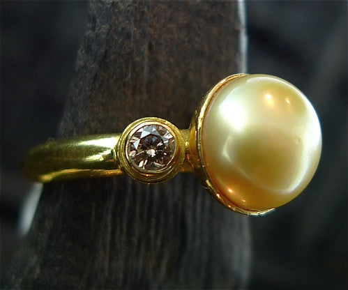 Kimarie Cognac Diamonds and Golden South Sea Pearl Ring in 22K Yellow Gold