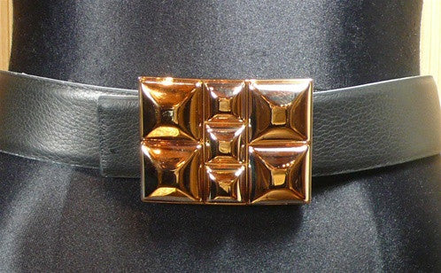 Orciani Gold Washed Pyramid Studded Buckle on Black Belt