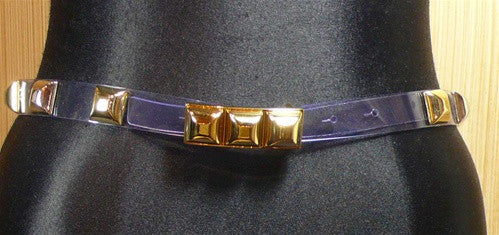 Orciani Thin Pyramid Shaped Studded Belt in Goldtone on Clear Strap