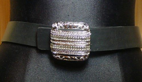 Orciani Swarovski Crystal and Silver Tone Buckle with Belt