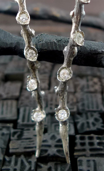 Nana Fabella Sterling Sea Branch Earrings with Cubic Zirconia