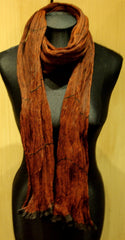 Sieva - Silk Accordian Pleated Scarf in Rust
