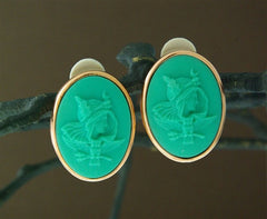 Extasia Turquoise Glass Cameo Earrings