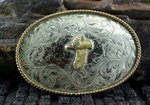 Old Rodeo Belt Buckle with a Duck in Flight