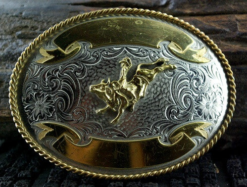 Old Rodeo Belt Buckle of a Bull Rider