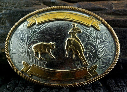 Old Rodeo Belt Buckle of a Cowboy Roping a Calf