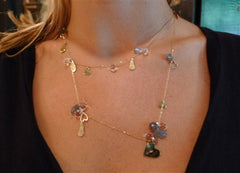 MINE 14K Yellow Gold, Labradorite, and Crystal Charm Falling in Love Necklace