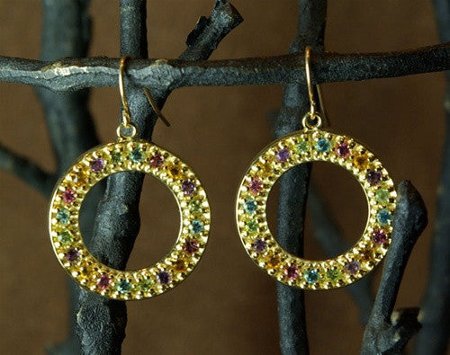 Emily and Ashley (Greenbeads) 14K Yellow Gold and Multi-gemstone Earrings