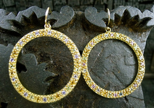Emily and Ashley 14K Yellow Gold, Multi-Color Sapphire Circle Earrings