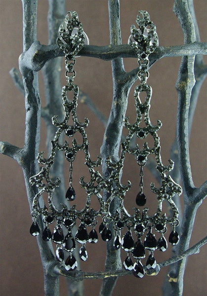 Siman Tu Black Crystal Chandelier Earrings