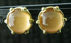 Steven Vaubel 18K Yellow Gold Vermeil and Peach Moonstone Clip Earrings
