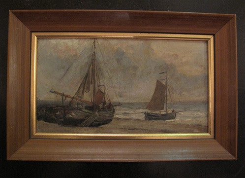 Antique Late 19th Century Oil Painting of Sailboats