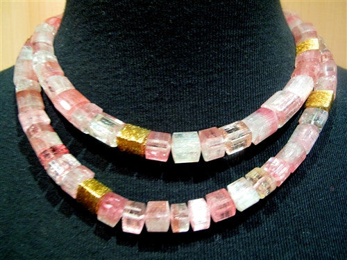 CHURCHILL Private Label (Pair) Rare Cut Triangular Pink Tourmaline Bead and 22K Gold Necklaces
