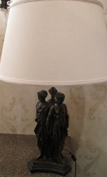 Bronze Figural Lamp of Three Graces after Canova