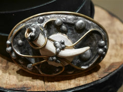 Mikal Winn Moose/Deer Antler Buckle on Black Belt