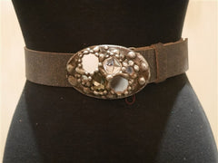 Mikal Winn Swarovski Crystals Silver Buckle and Black Belt