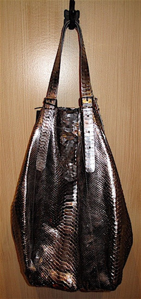 Jane August King's Road Tote in Silver Metallic  Python