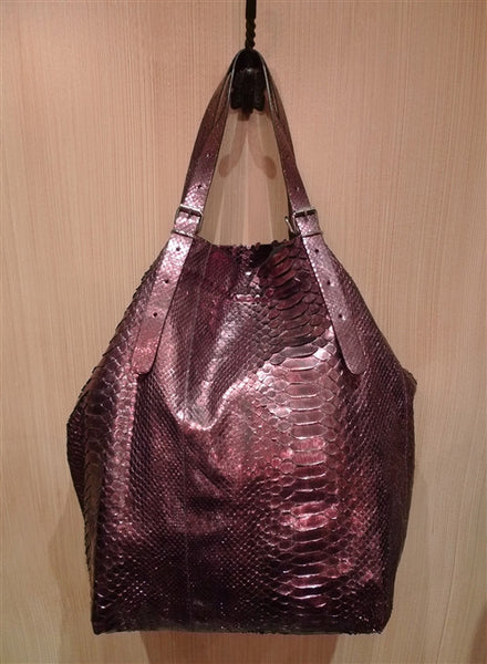 Jane August King's Road Tote In Silvery Purple Python