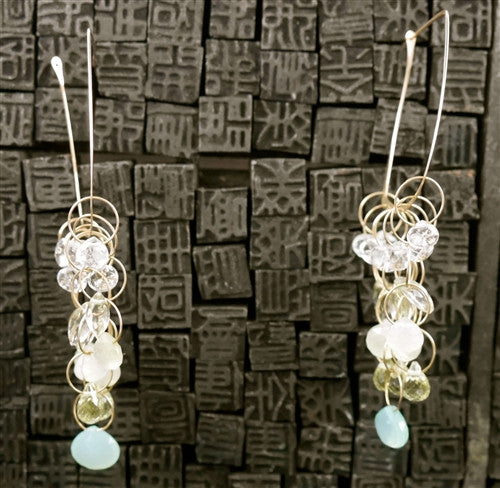 Melissa Joy Manning Square Hoop Earrings with Aquamarine, Chalcedony and Citrine in 14K Gold