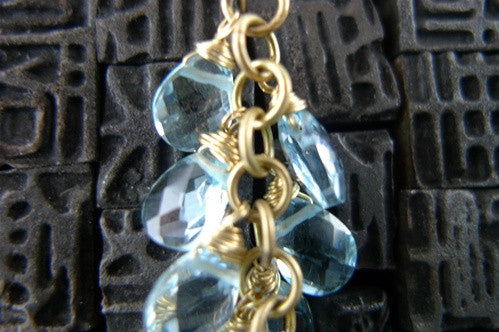 Talisman Unlimited Blue Topaz Pearvine Earrings in 14K Yellow Gold