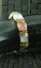 Steven Vaubel 18K Yellow Gold Vermeil Bracelet with Square Pink and Blue Stones