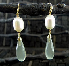 Gabrielle Sanchez 18K Yellow Gold, Pearl, and Faceted Golden Moonstone Drop Earrings