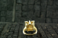 Robert Wander 18K Yellow Gold and Imperial Topaz with White and Chocolate Diamond Ring