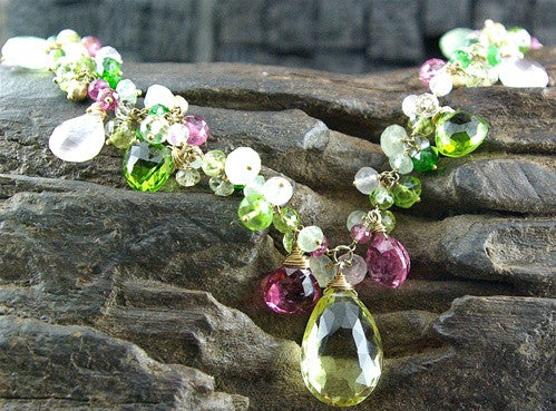 Talisman Unlimited 14K Yellow Gold Pink and Green Tourmaline Mixed Stone Necklace with Pearls