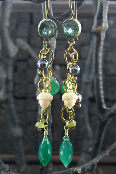 Extasia Green Stone, Grey Pearl, and Acorn Charm Earrings