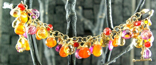 Talisman Unlimited 14K Yellow Gold, Pink Tourmaline, Citrine, Carnelian and Fire Opal Bracelet