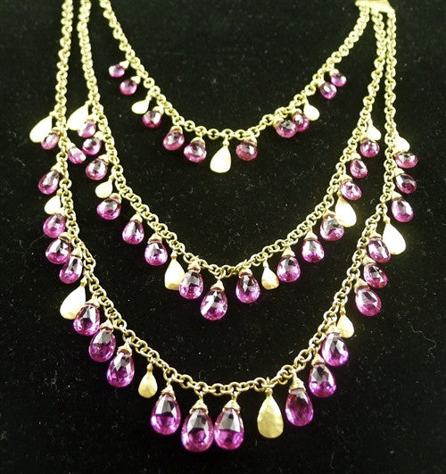 Talisman Unlimited 18K Yellow Gold and Fine Pink Tourmaline Briolette Three Strand Cascading Necklace