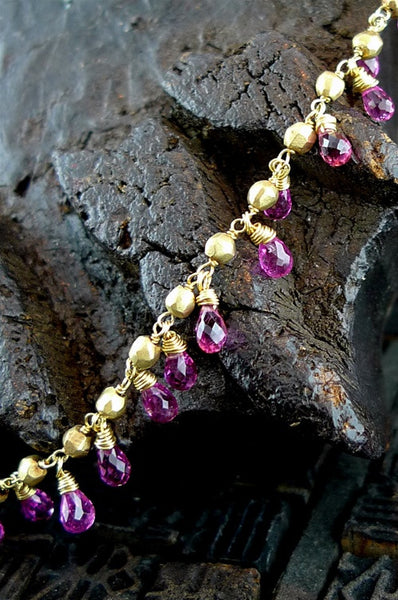 Talisman Unlimited Teardrop Gold Necklace in 18K  Yellow Gold with Pink Tourmaline