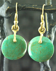Talisman Unlimited Disc Shaped Turquoise Earrings in 18K Yellow Gold