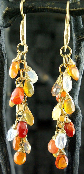 Talisman Unlimited Fire Opal and Moonstone Earrings in 14K Yellow Gold