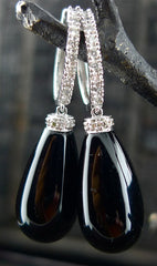 Onyx Drop Diamond Earrings in 14K White Gold