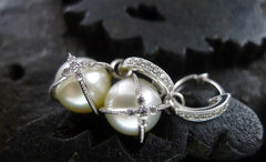 Jude Frances 18K White Gold, Diamond, and Pearl Lacy Sphere Earrings