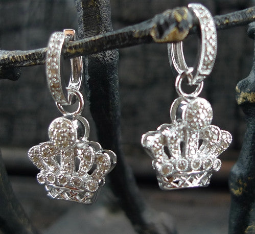 14K White Gold and Diamond Crown Huggie Earrings