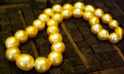 Necklace of Fine Intense Golden South Sea Baroque Pearls with 18K Gold Clasp