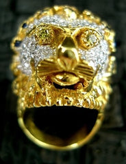 Estate 18K Yellow Gold Lion Head Ring with Sapphires and Diamonds